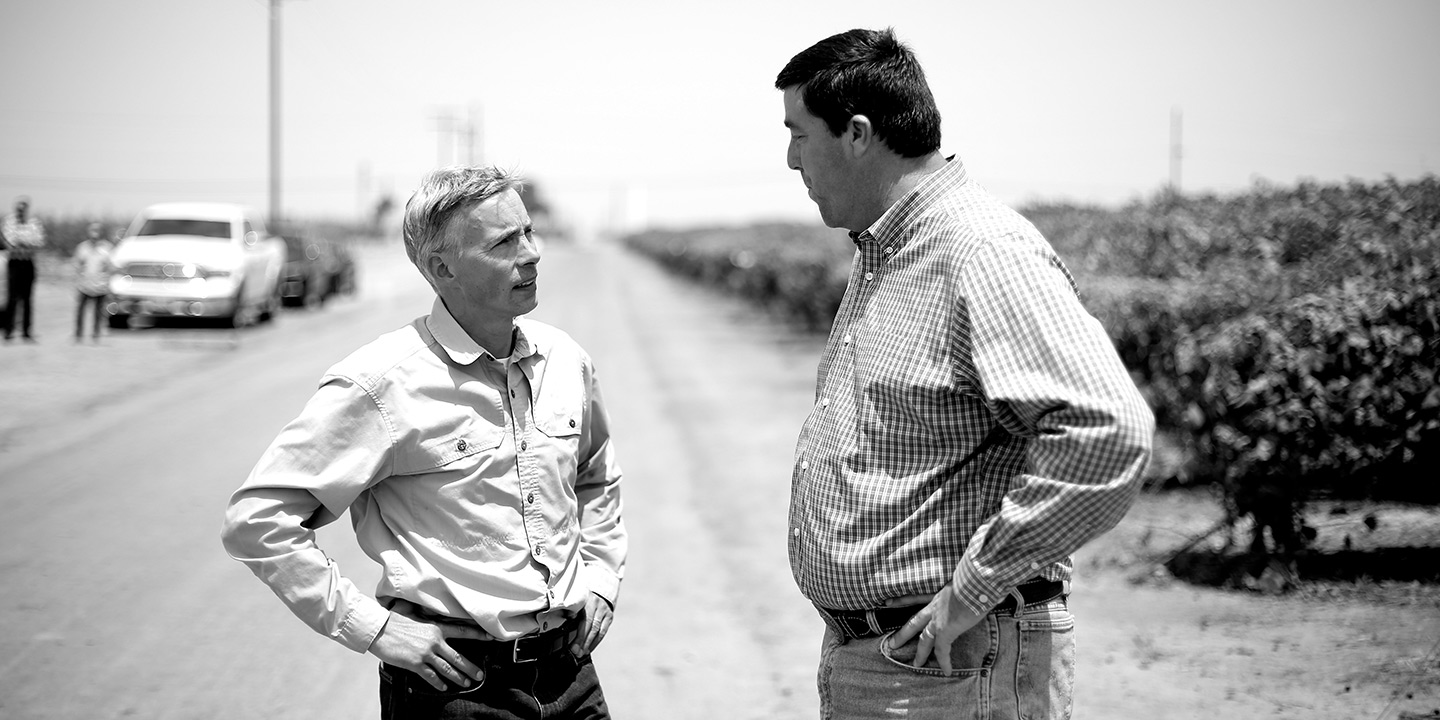 Rob Hurlbut and Darren Filkins appraising operations at Columbine Vineyards' Delano, California, headquarters