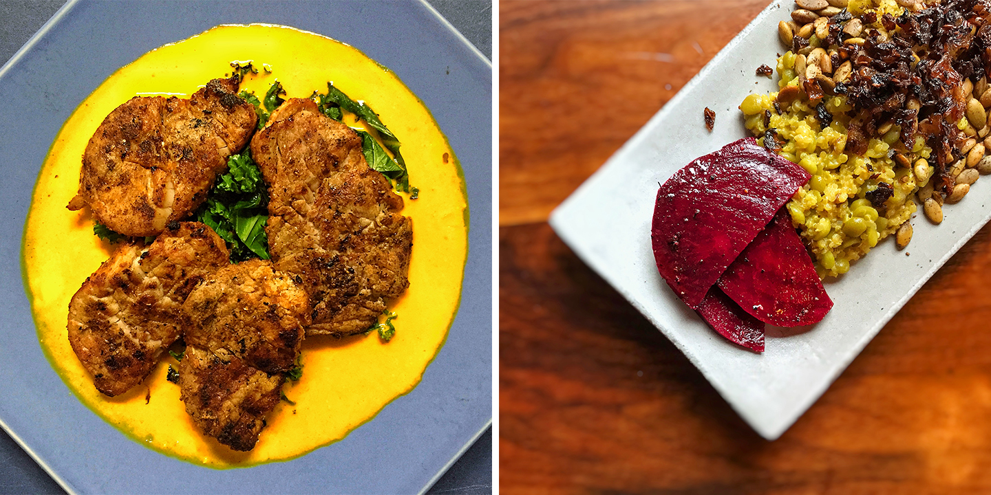 Left: Pork tenderloin on tangy cayenne and ginger curry; Right: 'Hummingbird' Vegetable Extravaganza, featuring organic quinoa, split green peas, crunchy beets, and pumpkin seeds