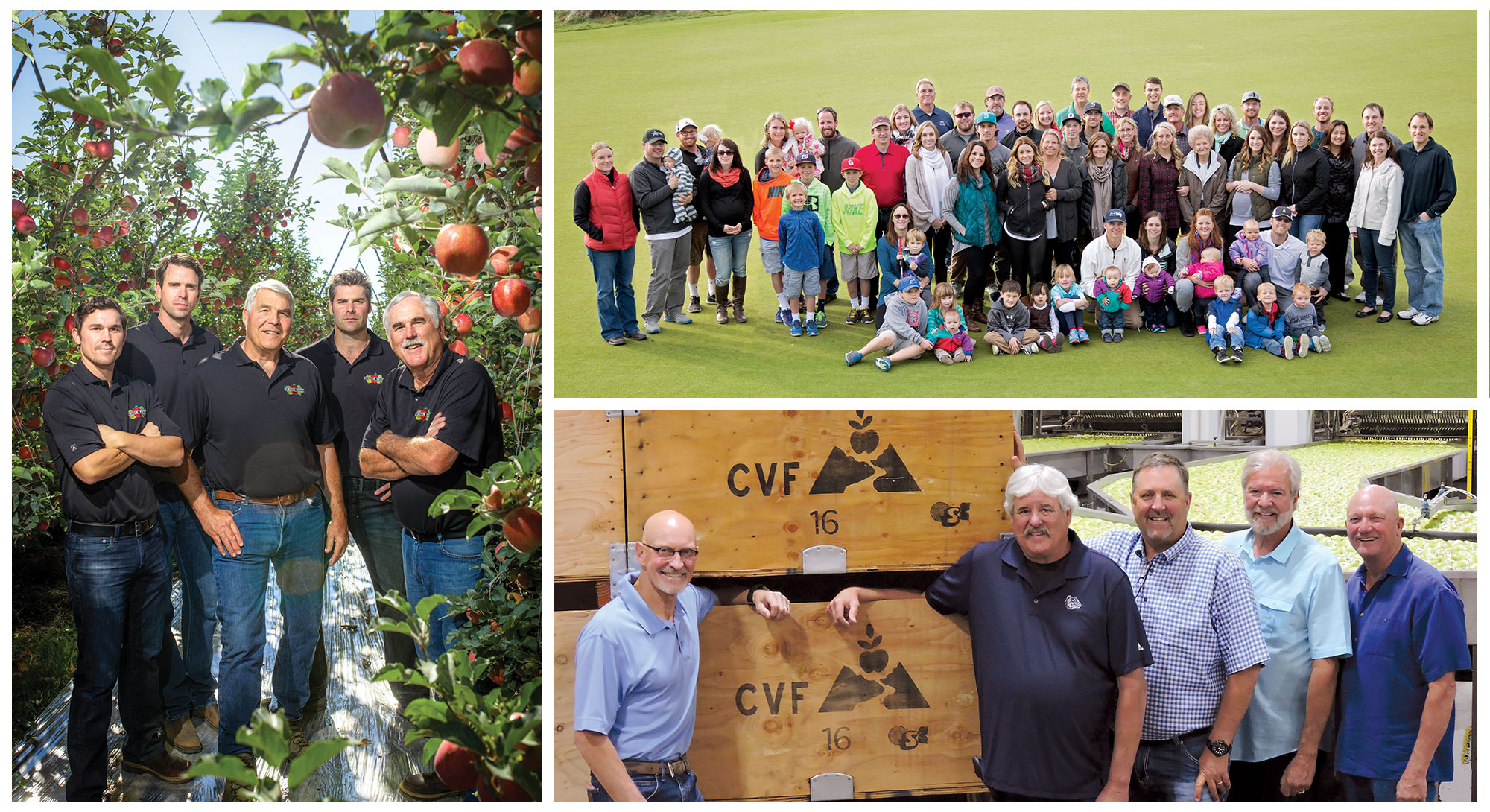 Clockwise from left: The Borton Fruit team; The Gebbers family; The Columbia Valley Fruit team