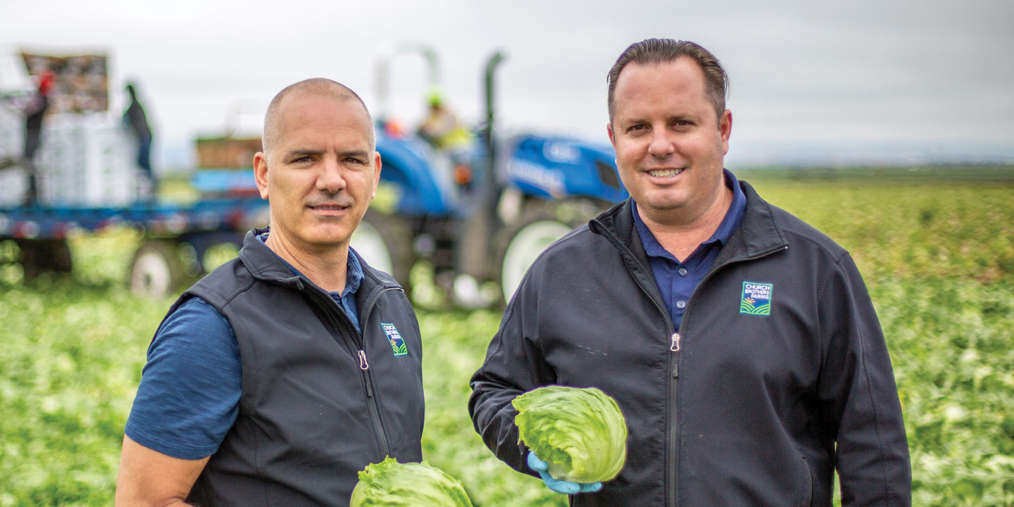 (Left) Jeff Church, Vice President of Sales, and (right) Brian Church, CEO, are marking the 20th Anniversary of Church Brothers Farms in Salinas, California