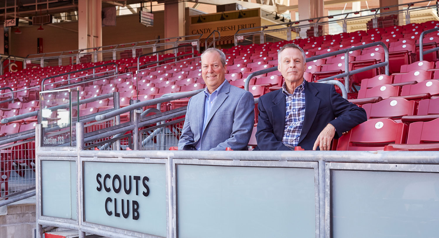 Vice President Tim Shepard (left) and Sales and Merchandising Manager Bob Lummis (right) at the Great American Ball Park in Cinncinati, Ohio