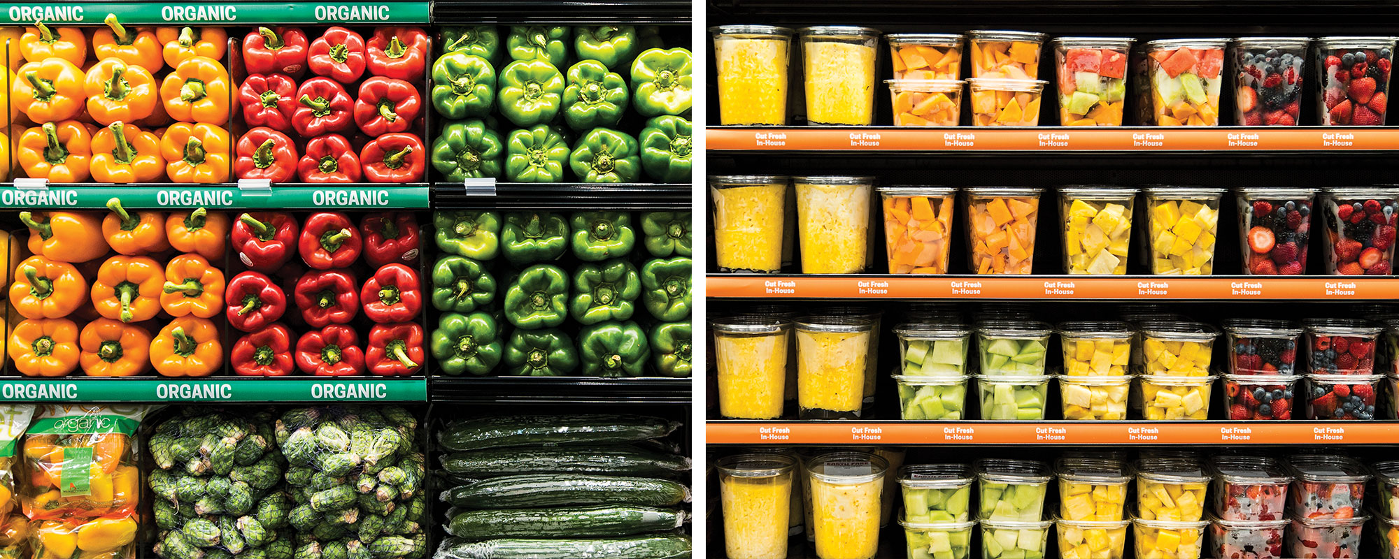 Fresh vegetables and fresh-cut fruit line the shelves of Earth Fare supermarkets