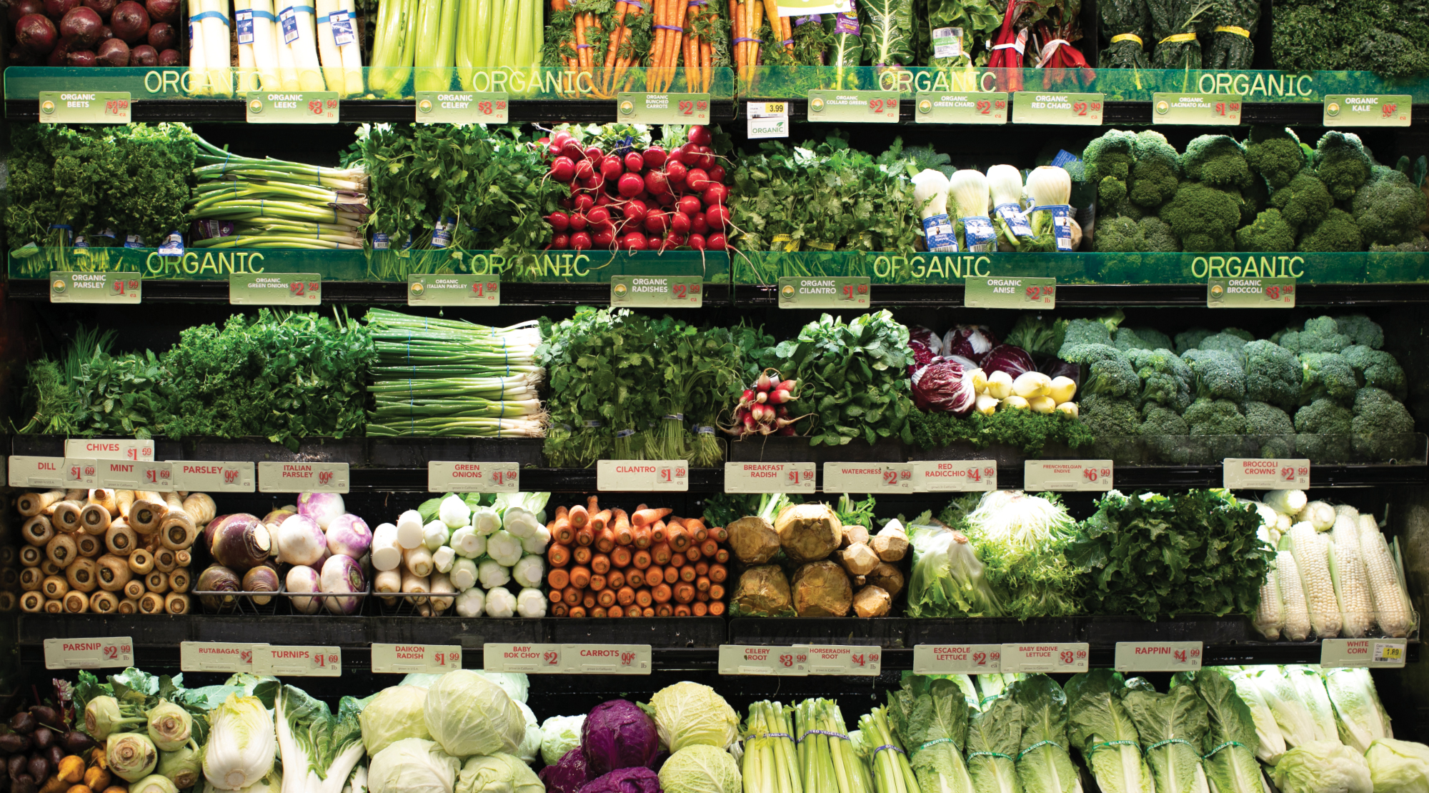 Colorful Organic produce is  a highlight of the fresh department at Gelson's Market