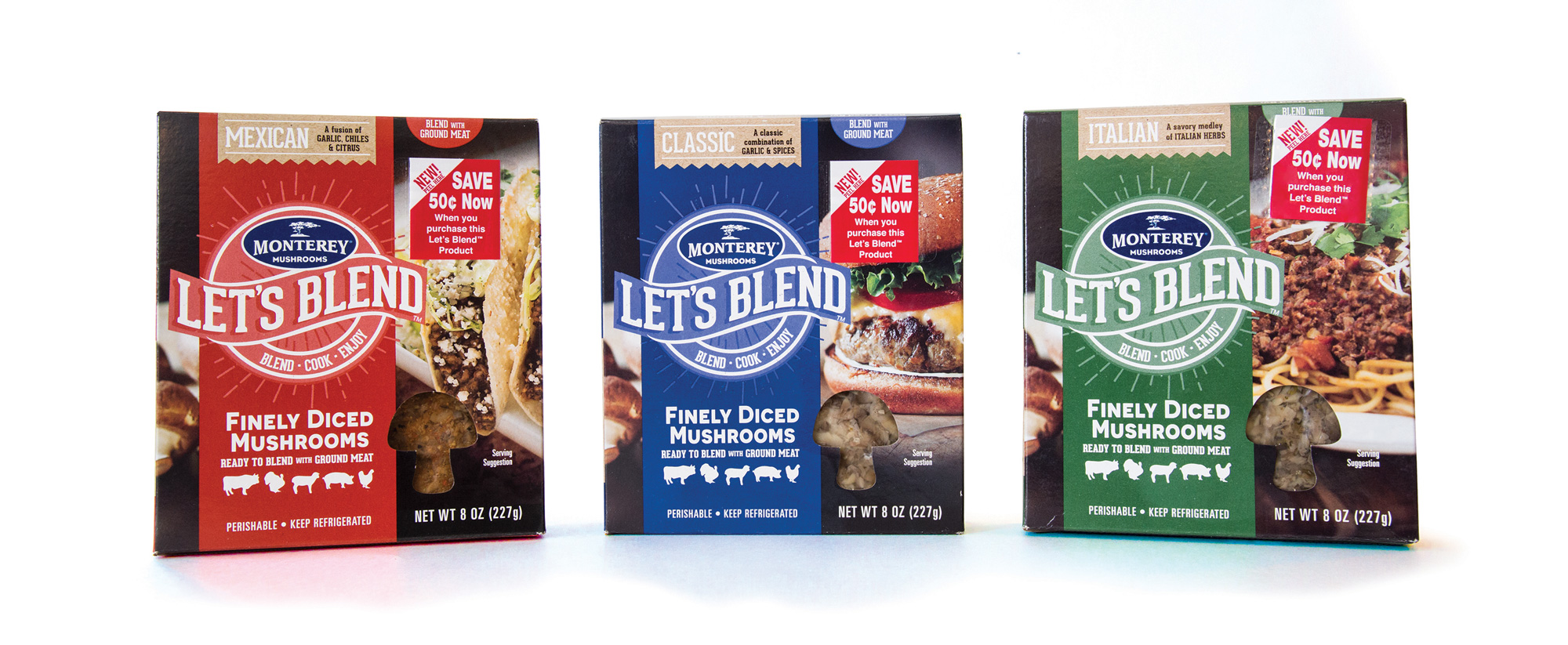 Let's Blend™ is a line of finely diced mushrooms ready-to-blend with ground meat