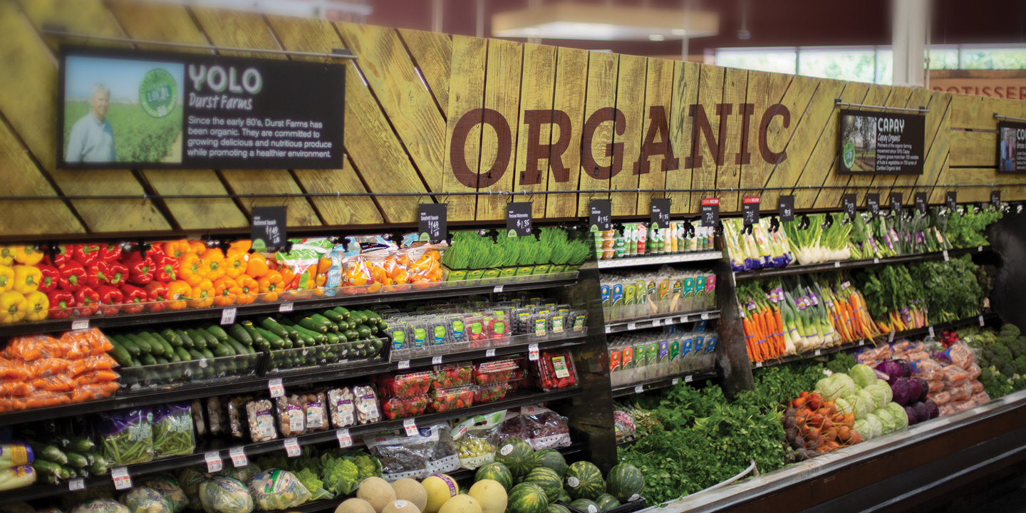 The Organic department at a Bel Air location in Sacramento, California featuring local organic growers
