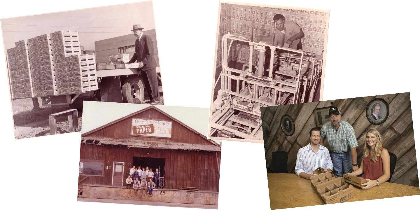 "From left to right: Charles Sambrailo with Driscoll's Strawberry boxes; Sambrailo Packaging's old Walker St. shed, reading: ""Chas. P. Sambrailo Wholesale Paper"", Sambrailo team, 1980; Tony Cadiente building Driscoll's strawberry boxes; and Erik Sambrailo, Mark Sambrailo, and Kiersten Sambrailo Clontz at Sambrailo Packaging"