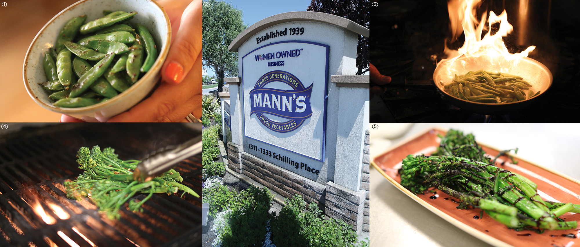 (1) Sautéed snap peas (2) The Mann Packing Headquarters in Salinas, CA (3) Snap peas frying in a skillet (4) Broccolini on the grill (5) Grilled broccolini