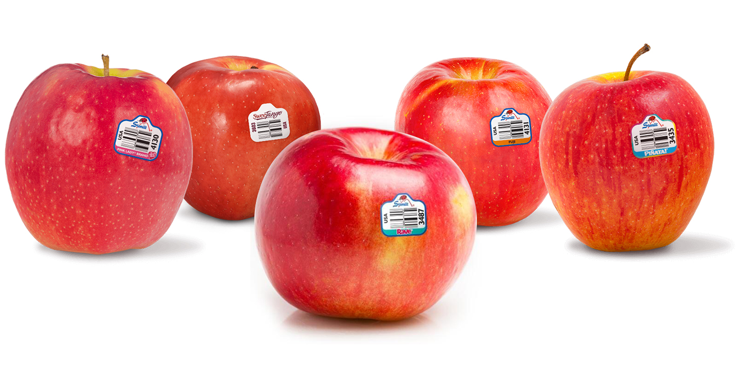 Apples from left to right: Pink Lady®,  SweeTango®, Rave®, Fuji, and Piñata®