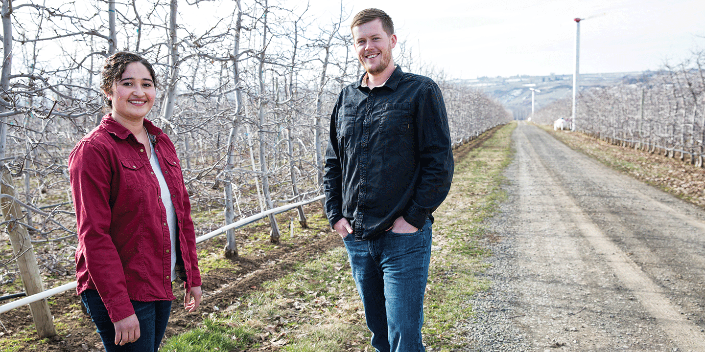 Tyler Weinbender and Flor Maldonado, Farm Special Operations, in a Superfresh Growers orchard