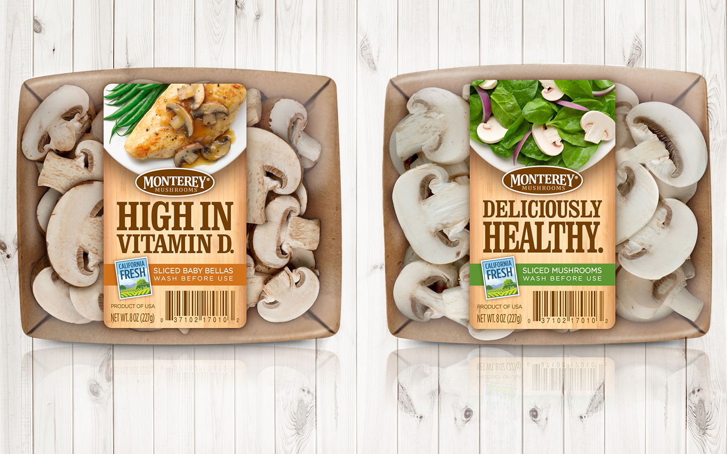 "This packaging was recognized by the Produce Marketing Association with its Impact Award for 2011.  The labels highlight the ""Deliciously Healthy"" and ""High in Vitamin D"" features of mushrooms with a mouthwatering image of a recipe idea."