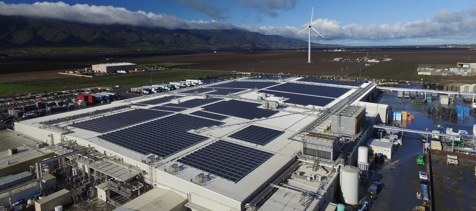 Taylor Farms' Gonzales facility employs a three-part system that uses a wind turbine, solar, and cogeneration energy system, giving it the ability to generate 4.2 MW of energy—a 90 percent energy offset—to run the 192,000-square-foot fresh processing plant