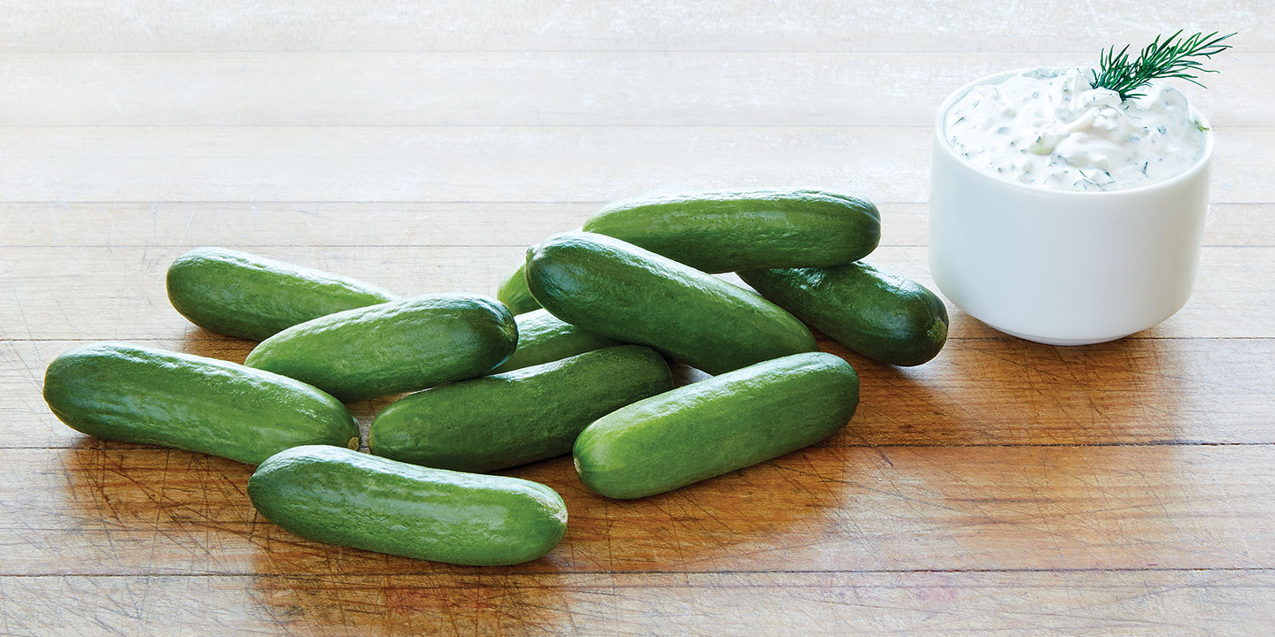 Try these juicy Fresco® Baby Cucumbers with a delicious dip