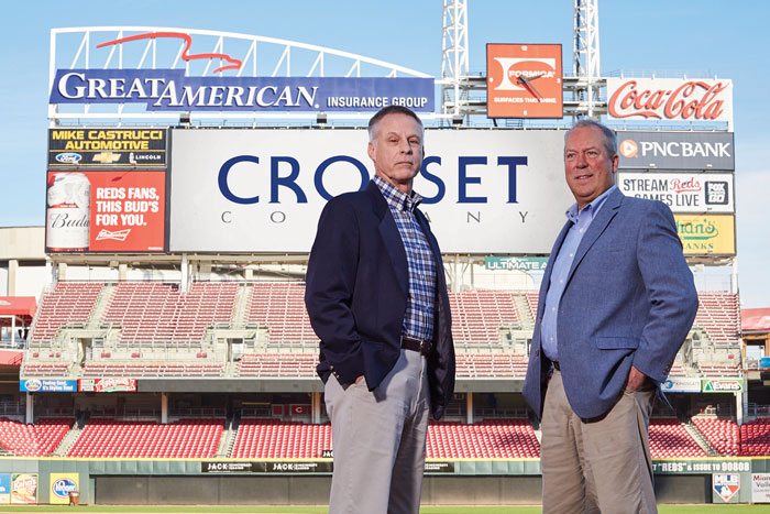 Bob Lummis (left) and Tim Shepard (right) at the Great American Ball Park in Cinncinati, Ohio