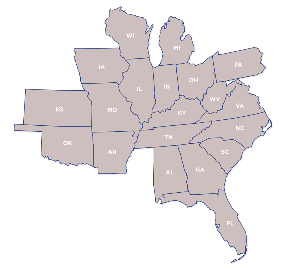 Crosset's distribution network spans 20 states