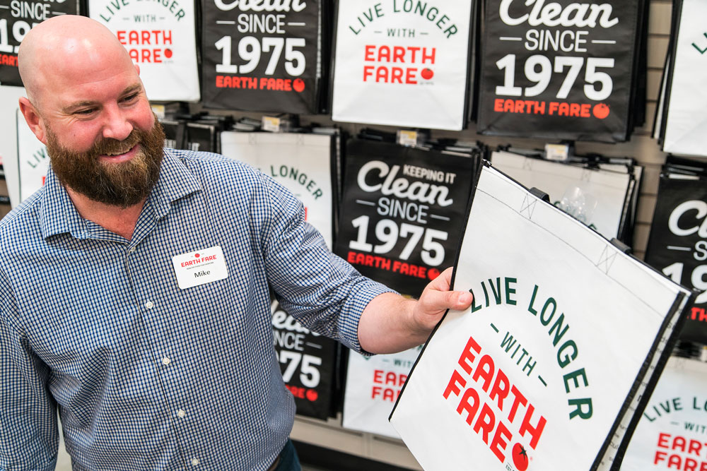 Mike Lappin and the Earth Fare campaign slogan, Live Longer with Earth Fare