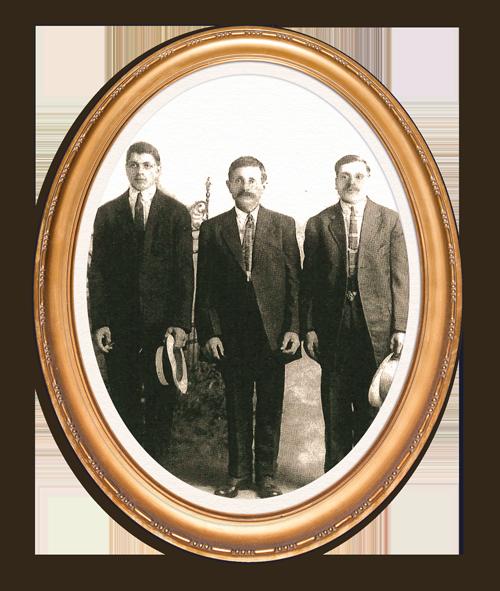 (From left to right) Pietro Giorgi, Pietro's father Giovanni Giorgi, and Pietro's uncle Nazzereno Giorgi, taken before their immigration to the United States