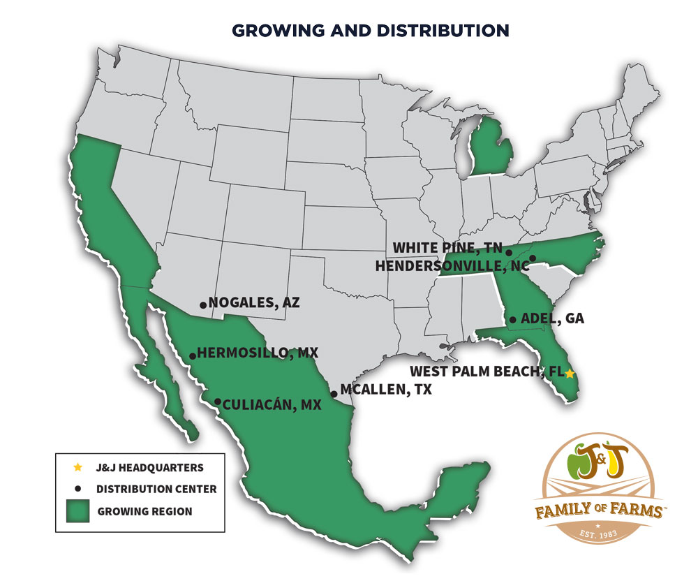 J&J Family of Farms Growing and Distribution Map