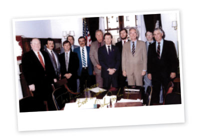 Jimmy Hill (GA Power), Randall Morris (Grower), Tommy Williams (Grower), Jim Bridges (Asst. GA Agriculture Commissioner), R.E. Hendrix (Grower), R.L. Cato (Grower), Congressman Lindsey Thomas, Delbert Bland (Grower), Congressman Wyche Fowler, Steve Roberson (Grower), W.J. Grimes (Grower)