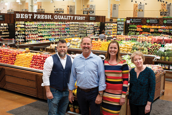From left to right: Michael Schutt, Sr. Category Manager, Produce and Floral; Greg Corrigan, senior director, produce and floral; Erin Cavaletto, Procurement Analyst, Produce and floral; and Cindy Raley, Associate Category Manager Floral, in a Bel Air fresh produce section in Sacramento, California