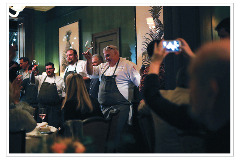 Chef Todd Fisher celebrates with his team at The James Beard House
