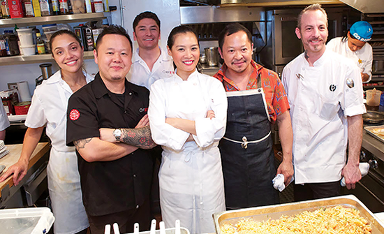 Chef Jet and Chefs Hong Thaimee and Pichet Ong cooking a Thai New Year Dinner at Beard House