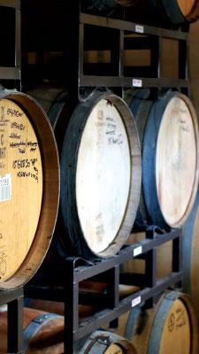 Barrels of wine at Shale Oak Winery