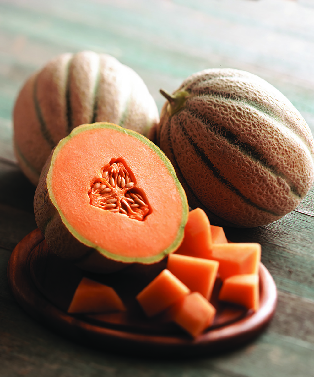 The Tuscan-Style® Cantaloupe is awash in varying green and orange hues and full of extra summer sweetness