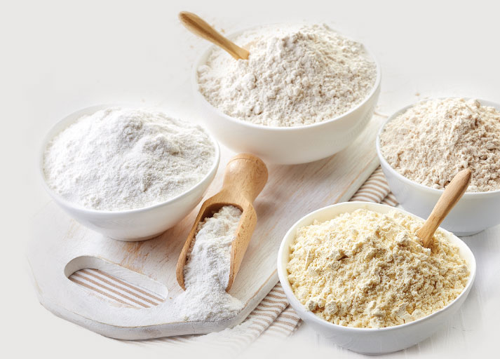 Fruit and vegetable flours and powders range in content and color, from red beet flour to green broccoli flour.