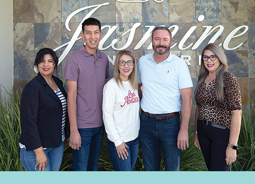 From left to right: Karla Camancho, Shipping Clerk; Julio Gonzalez, Food Safety Officer; Yesenia Diaz, Shipping Clerk; Brian Crettol, Sales Manager; and Sara Diaz, Sales and Shipping Support