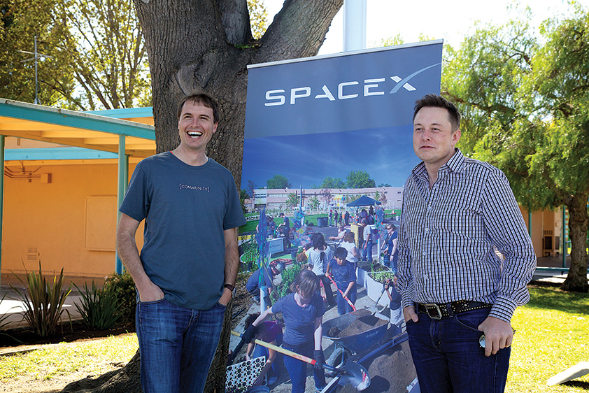 Kimbal Musk (left) with his brother Elon Musk