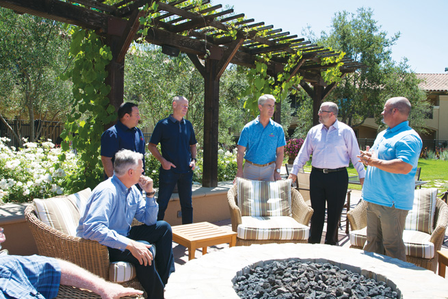 Drew Yurko (sitting), Darren Micelle, Glenn Davis, Kent Shoemaker, Toby Purse, and Bo Bates in Napa, CA