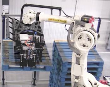 BMW Robotic Arm preparing pallets, Red Sun Farms