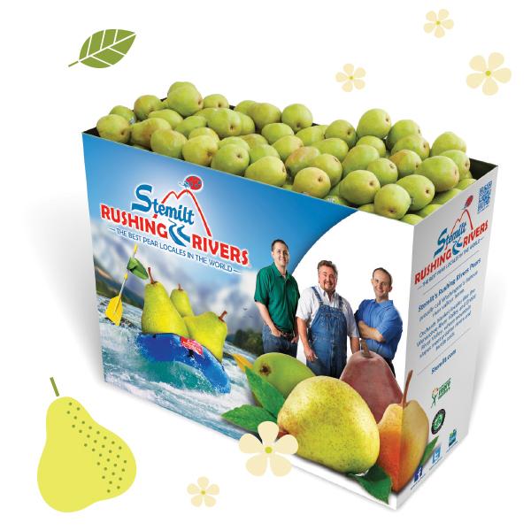 Stemilt Rushing Rivers® pears display bin